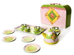 Children's 15 Pc Tin Tea Set with Case