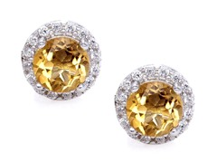 SS Brown CZ Halo Stud Earrings