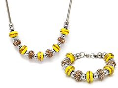 Stainless Steel Yellow Mix Charm Set