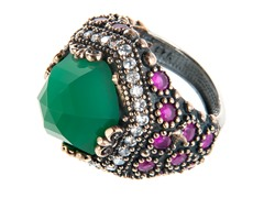 SS Round Dyed Emerald & Ruby Genuine Semi-Precious Gemstone CZ Ring