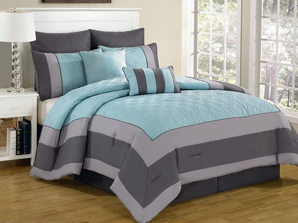Spain Hotel 8pc Quilted Comforter Set 2 Sizes