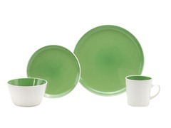 Oneida 16Pc Green Color Burst Dinner Set