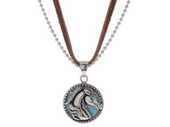 Stainless Steel & Genuine Turqouise Horse Pendant