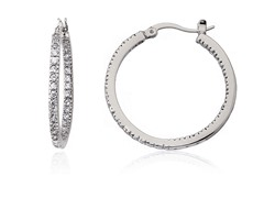 Riccova Retro CZ Inside Outside Medium Hoop Earring