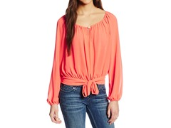 XOXO Juniors Front Tie Peasant Blouse, Coral