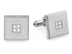Stainless Steel Cufflinks w/ CZ Accent