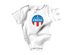 """Tiny Democrat"" in White (0-12 mos)"