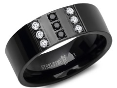 SS Black IP Ring w/ Crystal & Black CZ