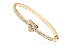 Gold/White Swarovski Elements Heart Bow Bangle