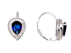 SS Blue Sapphire CZ Oval Leverback Earrings