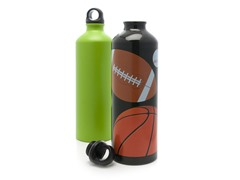 Sports Nut and Tennis Green Aluminum Water Bottle 2-Pack