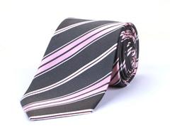 Silk Tie, Grey w/ Pink