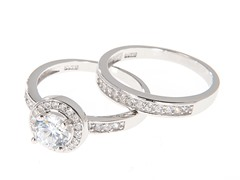 18kt White Gold Fancy Engagement Set