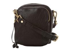 KC Square Biz Crossbody Leather Bag,  Black