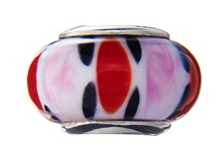 Black, Pink & Red Glass Bead