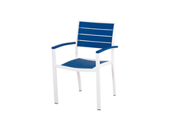 Euro Dining Chair, White/Pacific Blue