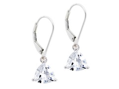 CZ Trillion Drop Lever Back Earring