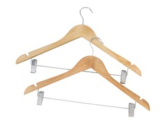 Wooden Hanger with Clips Natural 2-pc