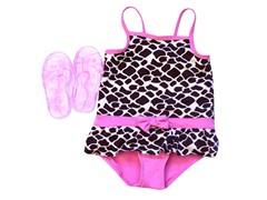 Pink Giraffe Swimsuit & Sandal Set (2T-4T)