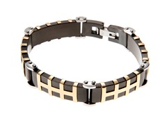 Black/18K Gold Plated Stainless Steel Heavy Link Bracelet