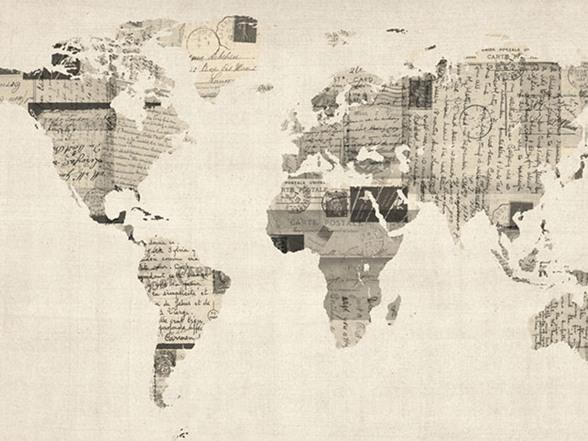 Vintage Postcards World Map 18x24 Canvas