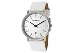 Unisex Slim White Leather Watch