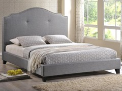 Marsha Scalloped Gray Linen Bed - Queen