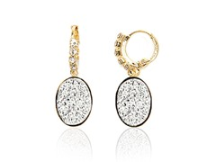 Silver Druzy Crystal CZ Round Drop Huggie Earrings