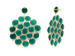 18k Gold Plated SS Green Agate Earrings