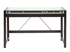 Baxton Studio Idabel Desk with Glass Top