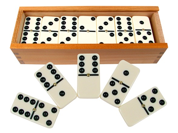 Premium Set of 28 Double Six Dominoes w/ Wood Case TY15773A