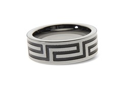 Tungsten Steel Greek Key Ring