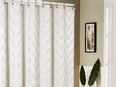 Behrakis Jacquard Shower Curtain - Ivory