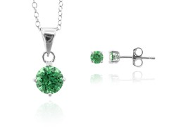 SS Emerald Green Earring & Pendant Set