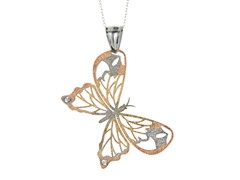 Three-Tone Crystal Butterfly Necklace