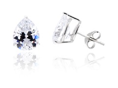 Sterling Silver Platinum Plated Pear CZ Studs