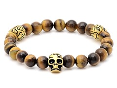 Men's Stretch Bead Bracelet w/ 18kt Gold