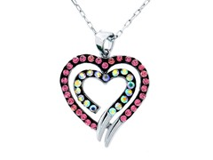 Silver Plated Heart Crystal Pendant