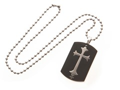 Stainless Steel Dog Tag w/ Cut Out Cross