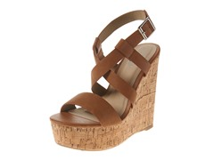 Carrini Strappy X Wedge Sandal, Cognac