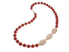 Beaded Teether Necklace Red/Ivory