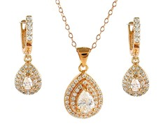 18kt Rose Plated Dual Row Pear Cut Set