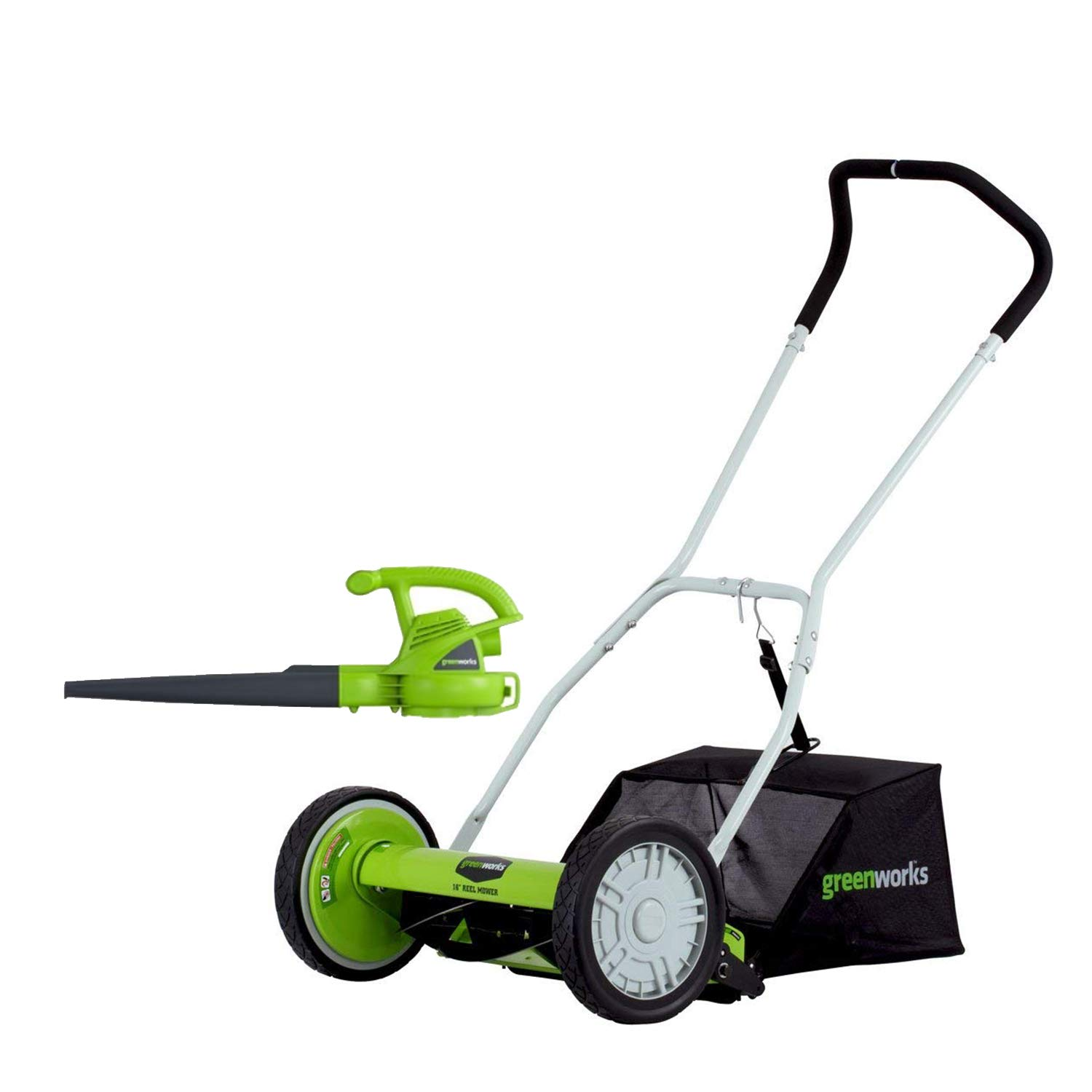 "GreenWorks 25052 16"" Reel Lawn Mower with Grass Catcher + 7 Amp Blower"