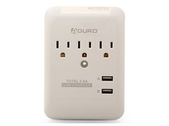 Charging Station/Surge Protector w/3 outlets, 2 USB