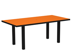 Euro Dining Table, Black/Tangerine