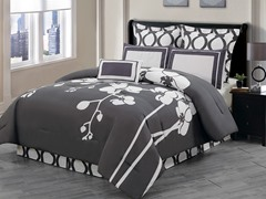 April Orchidea 7Pc Comforter Set-Slate-Queen
