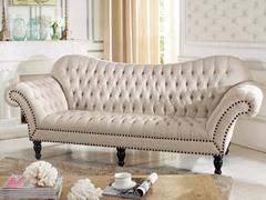 Bostwick Beige Linen Classic Victorian Sofa