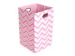 Rose Zig Zag Canvas Folding Laundry Bin