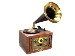 Vintage Style Turntable Horn Phonograph w/ Bluetooth