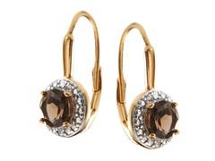 18K Gold SS Smokey Topaz Gemstone w/Diamond Leverback Earrings